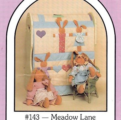 Vtg 80s UC Pattern Baby Quilt Stuffed Toy Bunnies Dreamspinners #143 Meadow Lane
