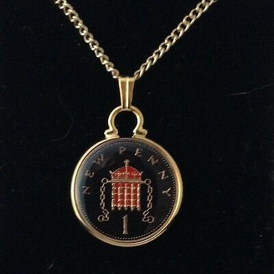 1975 Enamelled 1p Coin Pendant. Black/gold/red. 42nd Birthday/Anniversary
