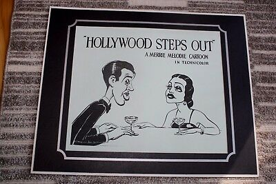 """Vtg Warner Bros Black & White Matted Picture Hollywood Steps Out 16"""" x 13"""""""
