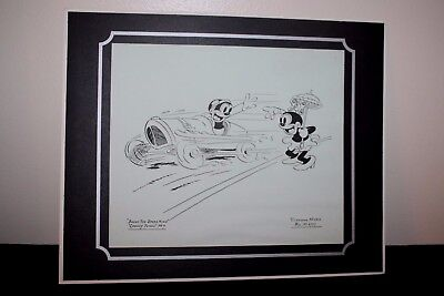 """Warner Bros Black & White Matted Picture BOSKO the SPEED KING Vitaphone 16"""" x 13"""