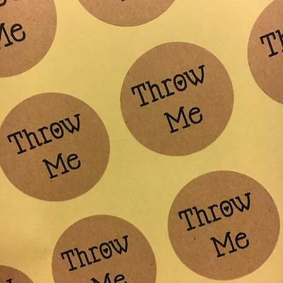 Round 40 stickers personalised brown kraft throw me confetti wedding stickers