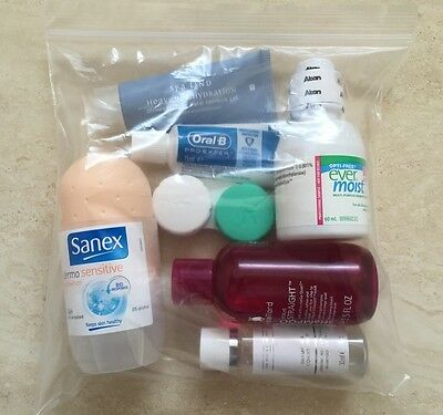 10 Airplane Security Hand Luggage Resealable Plastic Bags For Travel Bottles
