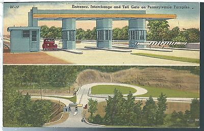 Vintage Postcard Pennsylvania PA Turnpike Entrance and Interchange Linen Tichnor