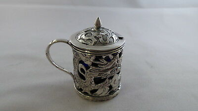 Quality Antique Chinese Export Sterling Silver Mustard Pot Wang Hing Circa 1910