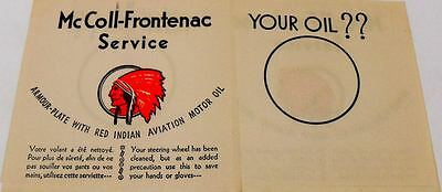 1930'S McCOLL-FRONTENAC MOTOR OIL RED INDIAN NAPKIN-MINT