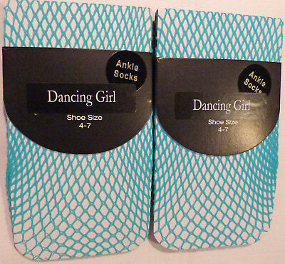 Dancing Girl 2 pairs of Fishnet Ankle Socks in Blue and foot size 4-7