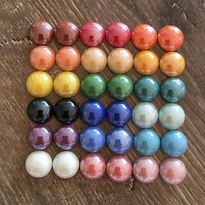 36 Porcelain Cabochon 14mm Flatback Pearl Tone Embellishments Craft DIY