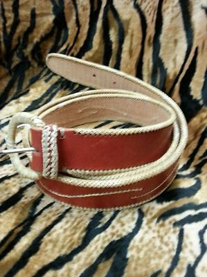KILLER 50s ROCKABILLY LEATHER BELT- SIZE 105 -AMAZING DESIGN - TOP QUALITY - VLV