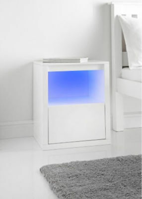 Alaska 1 Drawer Bedside Cabinet With Blue Led Light Gloss White Stylish