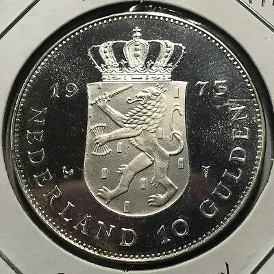 1973 Netherlands Silver 10 Gulden Proof Uncirculated Crown Coin