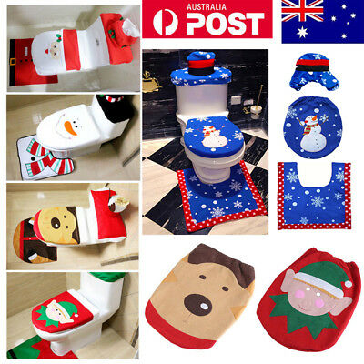 3 in 1 Universal Santa Toilet Bathroom Seat Cover Rug Set Christmas Decorations