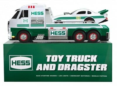 2016 Hess Toy Truck and Dragster Collectible w/Lights & Sound Green/ White NEW