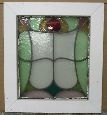 """OLD ENGLISH LEADED STAINED GLASS WINDOW Gorgeous Abstract 19"""" x 21.25"""""""
