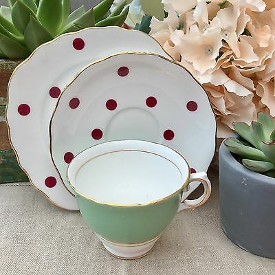 ROYAL VALE BONE CHINA 1960s TRIO CUP SAUCER PLATE SET HARLEQUIN RED POLKA DOTS