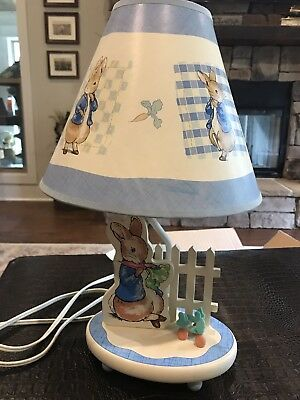 2001 PETER RABBIT AND HIS PICKET FENCE LAMP and Shade + 1999 Mrs Rabbit Plush
