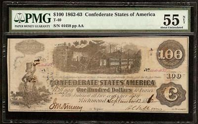 1862 63 $100 Dollar Confederate States Currency Civil War Note Money T-40 Pmg 55