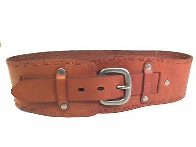 Fossil Genuine Leather Wide Western Brown Waist Belt Size Small MSRP $58 NWT