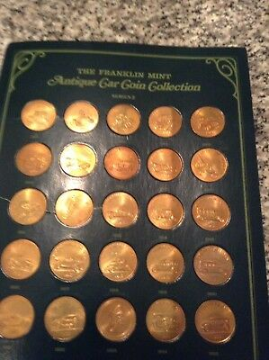 Franklin Mint Sunoco Antique car coin collection series #2 -- 25 bronze coins