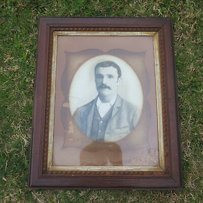 Antique Oak Frame, Unusual Picture on Milk Glass, Cracked, Interesting Project.