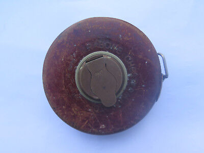 RABONE CHESTERMAN Ltd LONDON 66 FOOT & LINK MEASURE LEATHER TAPE MEASURE c1930s