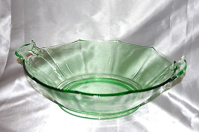 Green Depression Bowl Cambridge Decagon Pattern With Handles