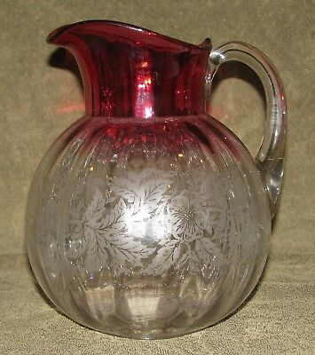 Beautiful Antique Northwood Hobbs Hand Blown Rubina Glass Etched Floral Pitcher