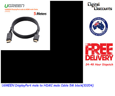 UGREEN DisplayPort male to HDMI male Cable 5M black(10204)