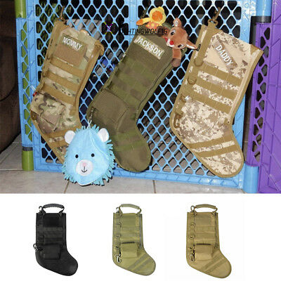 Tactical Christmas Stocking Molle Gear w/ Handle Holiday Decoration Military Kit