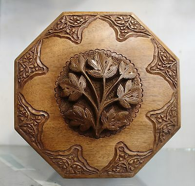 Vintage Hand Carved Wooden Antique accessory Jewelery Box walnut wood Flower