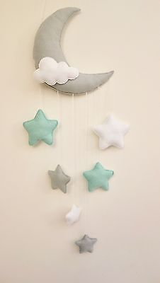 Moon and stars nursery decor (grey, pastel mint,,white)