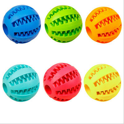 Rubber Ball Chew Treat Cleaning Pet Puppy Dog Training Dental Teething Toy New