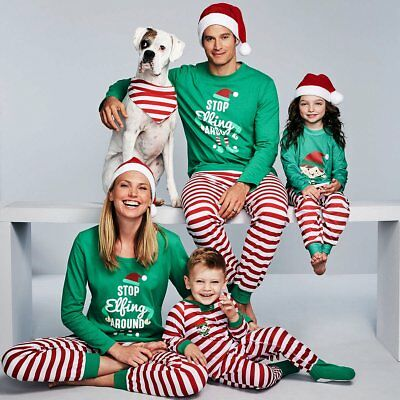 Elf Adult Kids Family Matching Christmas Pajamas Sleepwear Nightwear Pyjamas Set