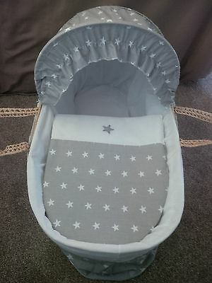 Moses Basket Cover Set Grey With White Stars Border Design New