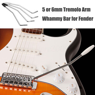 5mm 6mm Guitar Tremolo Arm Whammy Bar for Fender & Squier Strat Black/White Tip