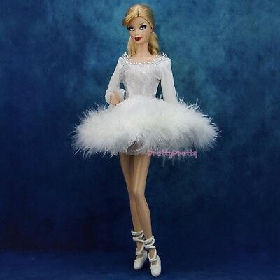 White Ballet Dress Dancer Shoes Fur Skirt Clothes For Barbie Doll Kid xMas Gift