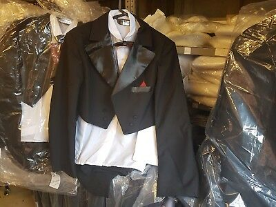 Boys Five Piece Black Tail Suit with Cumber Band