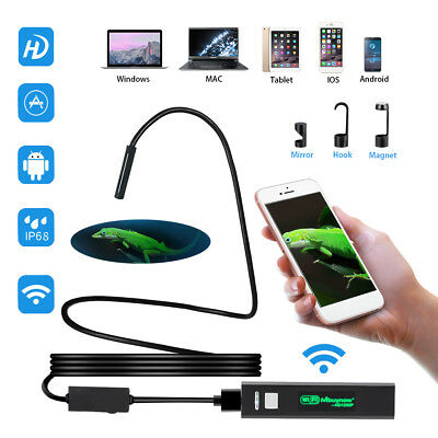 1200P HD Wifi Endoscope Borescope Inspection 8LED Snake Camera Waterproof 16.5FT