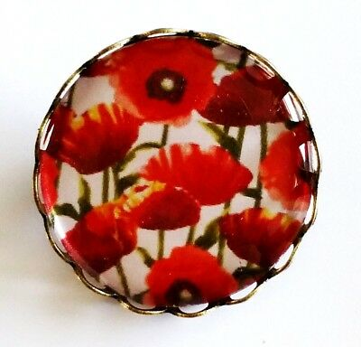 Poppy Brooch Pin/Badge Flower Poppies Remember British Legion Bronze Tone NEW