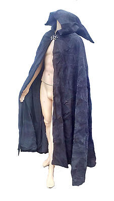 LARP Black Patchwork Leather Cloak,Cosplay,Reenactment,Medieval REDUCED