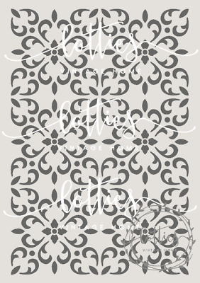 A4 STENCIL MOROCCAN TILES Fabric Furniture Vintage ❤ REPEATABLE 190 MYLAR 002