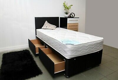 2ft6 3ft Single Divan Bed with Storage and 22cm Deep Mattress + Headboard