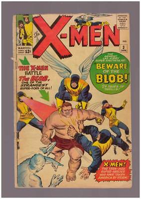 X-Men # 3  Beware of the Blob !  grade 3.0 (pinup page missing) scarce book !
