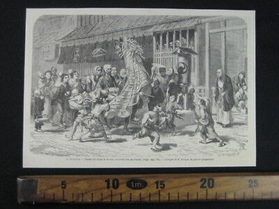 1870 GIAPPONE COMMEDIA DELL'ARTE KYOGEN DANZA JAPAN ANTICA STAMPA ENGRAVING Ab