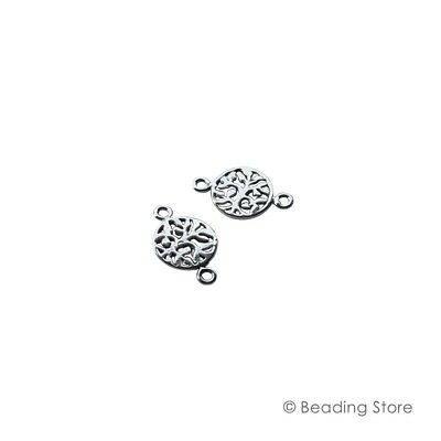 2 x 925 Sterling Silver 9.6mm Round 15.8mm High Etched Leaf Link Connectors Ring