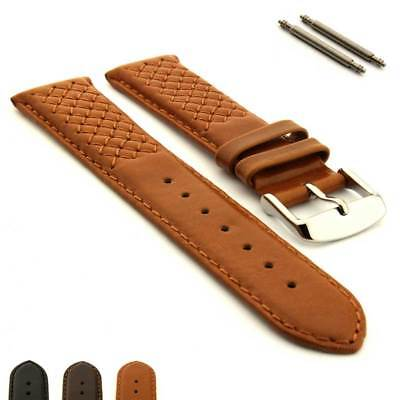 Cross Stitched Genuine Leather Watch Strap Band Vinci SS Buckle, Spring Bars