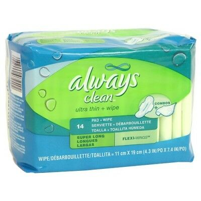 Always Ultra Thin Super Long Pads with Wings+Wipes - Choose Pack Size