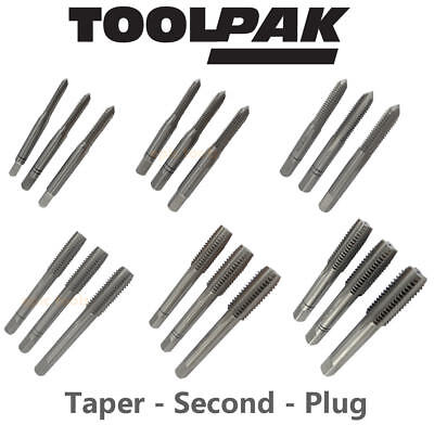 TOOLPAK M2 Steel HSS Metric Coarse Thread Hand Tap Sets,Available From M4 To M12