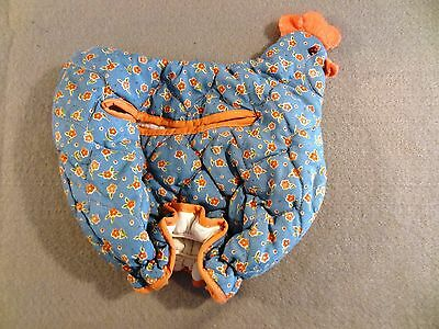 AVON Vintage BLUE Pink Flowers QUILTED Chicken Shape BUN WARMER or TOASTER Cover