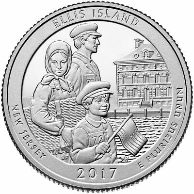 US QUARTER DOLLAR UNC 2017 NEW JERSEY ELLIS ISLAND P + D Mint COINS