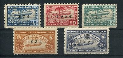 Zeppelin Paraguay 1934 Mint Mlh Complete Airmail Set Stamps # 49010